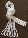 Six White Lanyards - Fender Ropes (8mm x 1 metre)